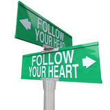 Follow Your Heart - Two-Way Street Sign Royalty Free Stock Images