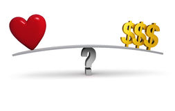 Follow Your Heart Or Your Wallet?. A bright, red heart and three gold dollar signs sit on opposite ends of a gray board balanced on a gray question mark Stock Images