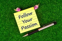 Follow your passion in note Royalty Free Stock Images