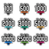 Follower thank-you badges vector illustration