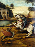 A follower of Vittore Carpaccio: Saint George. The first half of the 16th century, exhibited in the Museum of Arts and Crafts in Zagreb Stock Image