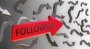 Follower Word On red Arrow. Indicate the Direction With Gray Arrows on Gray Background Royalty Free Stock Photo