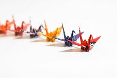 The followers. A queue of origami birds royalty free stock images