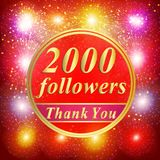 Followers background. 2000 followers. Bright followers background. 2000 followers illustration with thank you on a ribbon. Illustration Stock Image