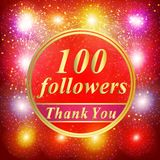 Followers background. 100 followers illustration with thank you on a ribbon. Bright followers background. 100 followers illustration with thank you on a ribbon stock illustration