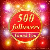 Followers background. 500 followers. Vector. Bright followers background. 500 followers illustration with thank you on a ribbon. Vector illustration stock illustration