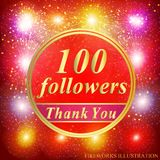 Followers background. 100 followers illustration with thank you on a ribbon. Vector illustration. Bright followers background. 100 followers illustration with stock illustration