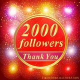 Followers background. 2000 followers. Vector. Bright followers background. 2000 followers illustration with thank you on a ribbon. Vector illustration vector illustration