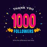 1000 followers card banner post template for celebrating many followers in online social media networks royalty free illustration