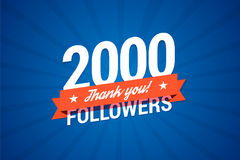 2000 followers card. For celebrating many followers in social networks Royalty Free Stock Photos