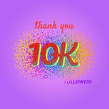 Thank you followers card on bright  background. Royalty Free Stock Photography