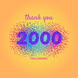 Thank you followers card on bright  background. 2000 followers card. Thank you followers banner with frame on bright  background. Simple vector illustration Royalty Free Stock Image