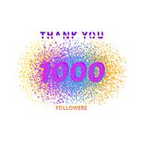 1000 followers card on white background. 1000 followers card. Thank you my 1K followers banner isolated on white background. Vector illustration. Good for Royalty Free Stock Images
