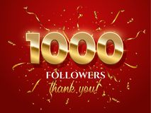 1000 followers celebration vector banner with text vector illustration
