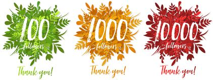 100, 1000 and 10 000 followers , greeting card for social networks. 100, 1000 and 10 000 followers, greeting card set for social networks, text thank you on the stock illustration