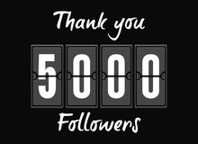 5000 followers . Greeting card for social networks. 5000 followers vector illustration. Greeting card for social networks Stock Photography
