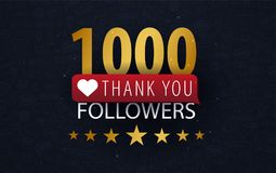 1000 Followers illustration with thank you on a button. Vector illustration. stock illustration