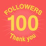 100 followers illustration with thank you. 100 followers with thank you. Colorful flat stock illustration stock illustration