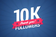 10000 followers illustration with thank you on a ribbon. Vector illustration in flat style Royalty Free Stock Photography