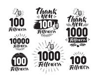 Followers, label or icon. Set of web icons for social network. Lettering vector illustration Stock Image