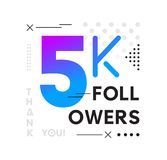 5000 Followers Memphis card with geometric elements. 5k follower. S memphis poster for social media networks and follower. Thank you followers Banners vector illustration