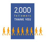 2000 followers. Milestone with people line royalty free illustration