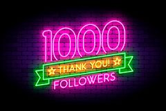 1000 followers neon sign on the wall. Realistic neon sign with number of followers and thank you phrase on the ribbon with stars. Vector illustration for vector illustration