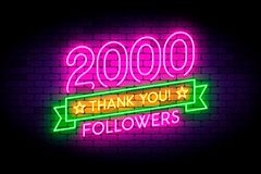 2000 followers neon sign on the wall. Realistic neon sign with number of followers and thank you phrase on the ribbon with stars. Vector illustration for vector illustration