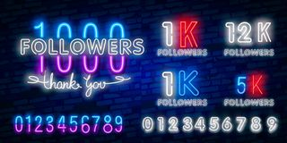 1000 followers neon sign on the wall. Realistic neon sign with number of followers. Vector illustration for celebrating royalty free illustration
