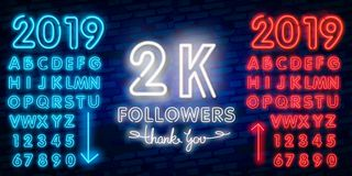 2000 followers neon sign on the wall. Realistic neon sign with number of followers. On the ribbon with stars stock illustration
