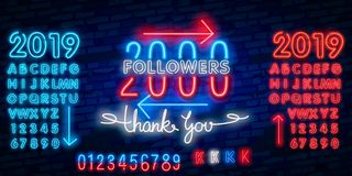 2000 followers neon sign on the wall. Realistic neon sign with number of followers on the ribbon with stars. 2000 followers neon sign on the wall. Realistic neon stock illustration