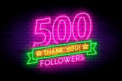 500 followers neon sign on the wall. Realistic neon sign with number of followers and thank you phrase on the ribbon with stars. Vector illustration for stock illustration