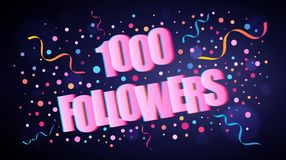 1000 Followers overlapping festive lettering with colorful round confetti. Over dark violet background for your graphic and web design royalty free illustration