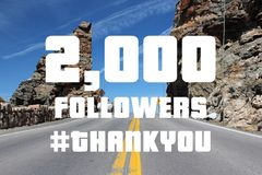 2000 followers. Sign - social media milestone banner. Online community thank you note. 2k likes stock image