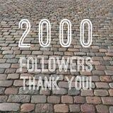 2000 followers. Sign - social media milestone square. Online community thank you note. 2k likes stock photo