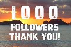 1000 followers sign stock photo