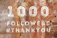 Online fans. 1000 followers - social media celebration banner. 1k online community fans Royalty Free Stock Photo