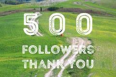 500 followers. Social media milestone banner. Online community thank you note. 500 fans stock illustration