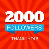 2000 followers social media post for networks. 2000 two thousands followers social media post for networks vector illustration