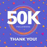 1000 followers, social sites post, greeting card. Vector illustration Stock Image