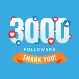 3000 followers, social sites post, greeting card. Vector illustration Royalty Free Stock Photo
