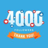4000 followers, social sites post, greeting card. Vector illustration Royalty Free Stock Photography