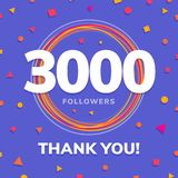 3000 followers, social sites post, greeting card. Vector illustration Royalty Free Stock Image