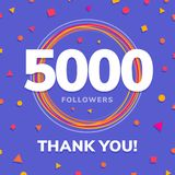 5000 followers, social sites post, greeting card. Vector illustration Stock Images