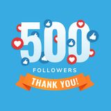 500 followers, social sites post, greeting card. Vector illustration royalty free illustration