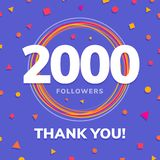 2000 followers, social sites post, greeting card. Vector illustration stock illustration