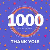 1000 followers, social sites post, greeting card. Vector illustration Royalty Free Illustration