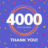 4000 followers, social sites post, greeting card. Vector illustration Stock Photography