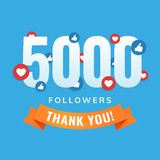 5000 followers, social sites post, greeting card. Vector illustration Royalty Free Stock Photography