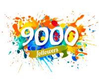 9000 followers. Splash paint inscription stock illustration